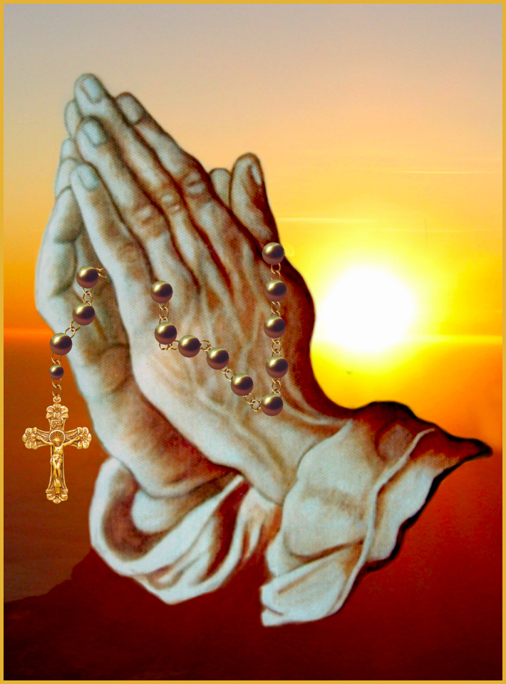 praying hands rosary clipart