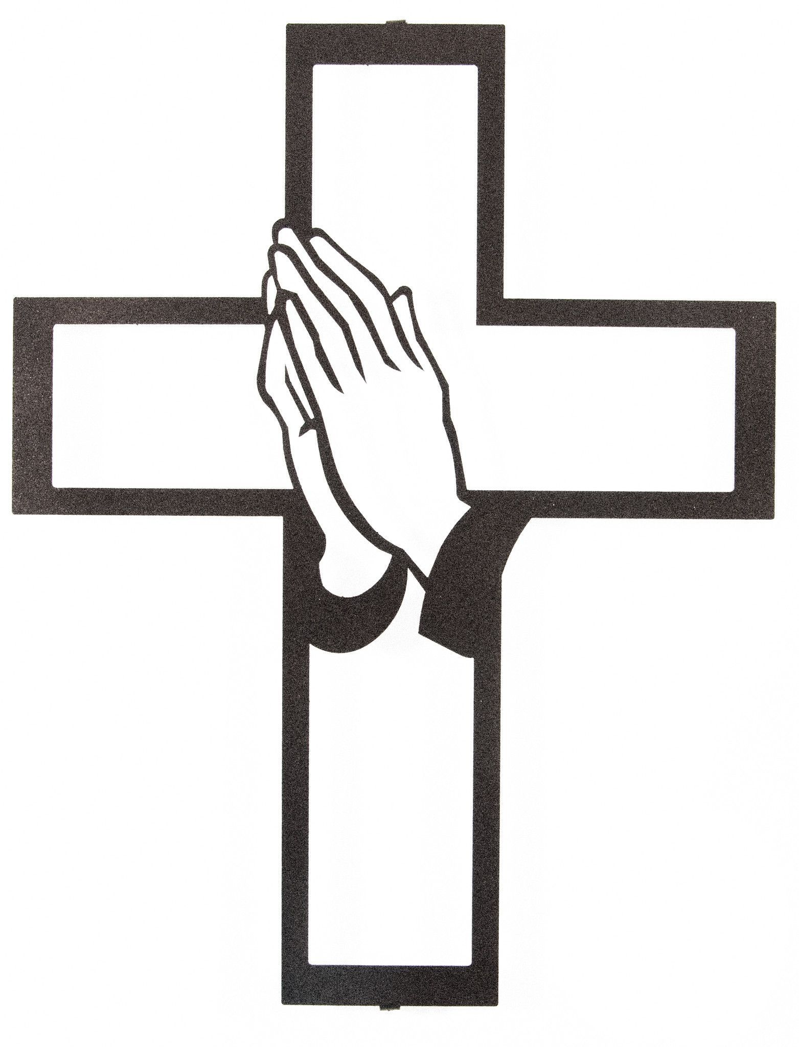 Praying Hands With Cross Silhouette.