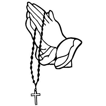 Praying Hands with Rosary Sticker Decal White (7\
