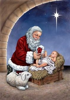 Santa praying clipart.