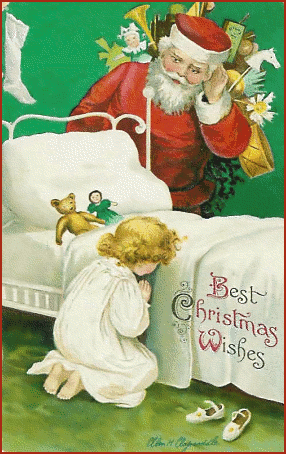Clipart of a praying child with Santa peering over the bed.