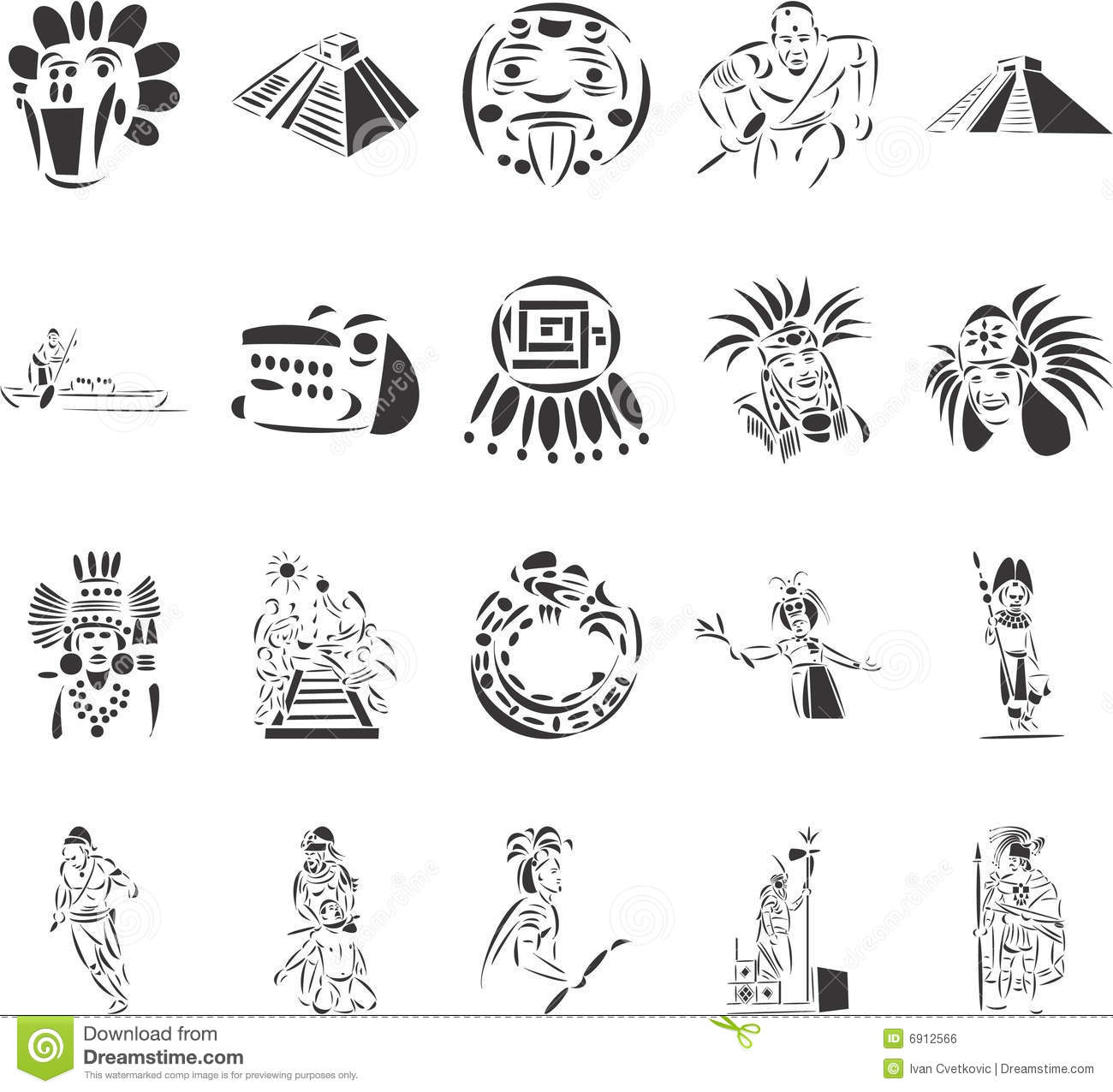 Pre Columbian Stock Illustrations.