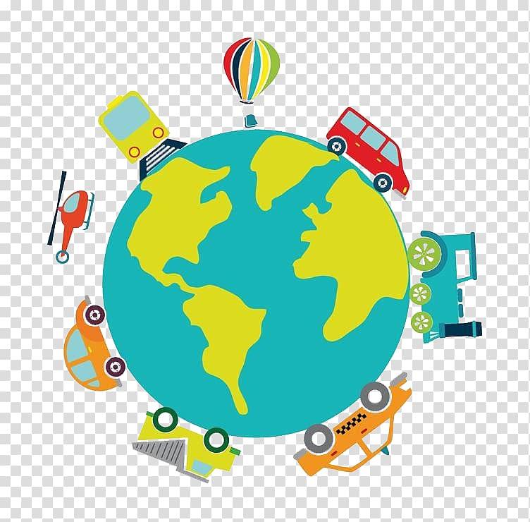 Earth Cartoon Illustration, Planet surface transparent.