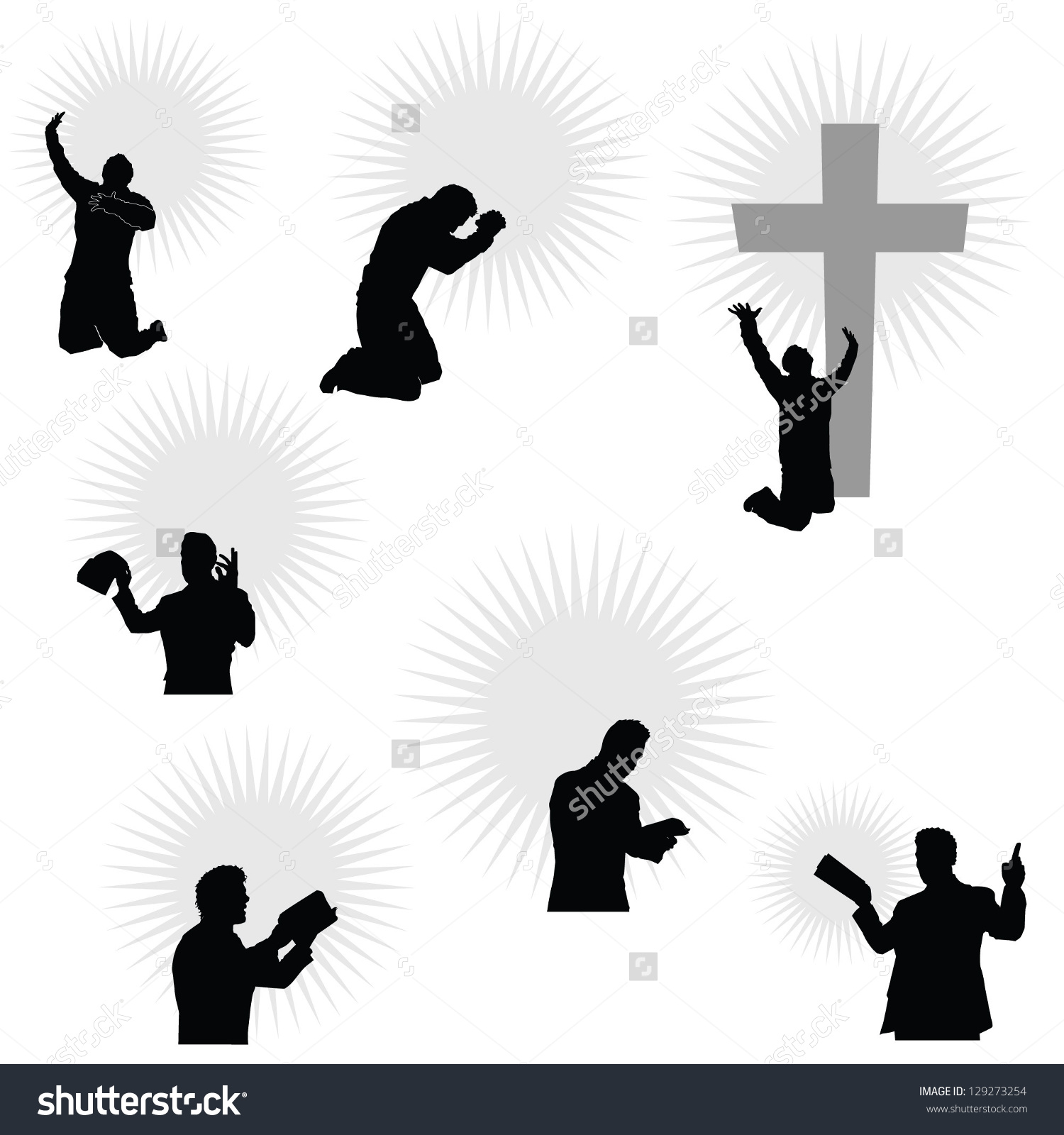 Man On His Knees Praying Holding Stock Vector 129273254.