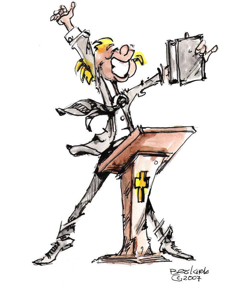 Clipart of a woman pastor preaching.