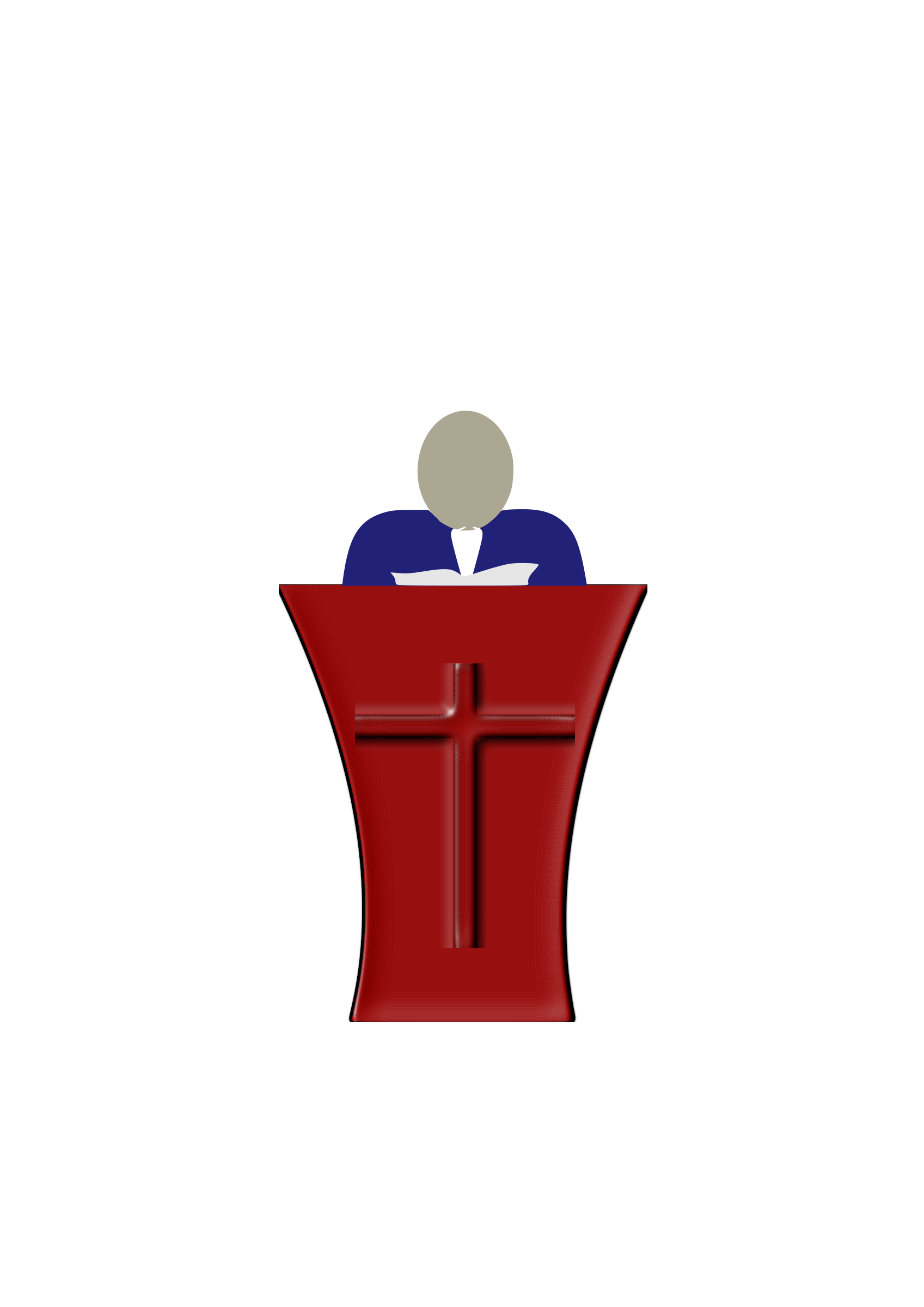 Pastor preaching in church service clipart.