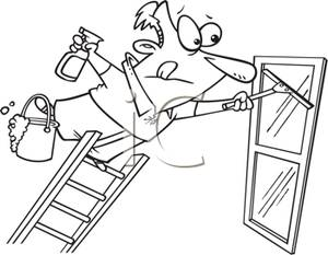 Black and White Cartoon of a Man Precariously Leaning Out on a.