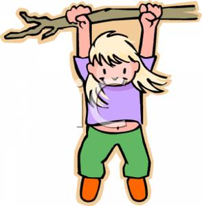 Colorful Cartoon of a Girl Hanging Precariously From a Tree Branch.