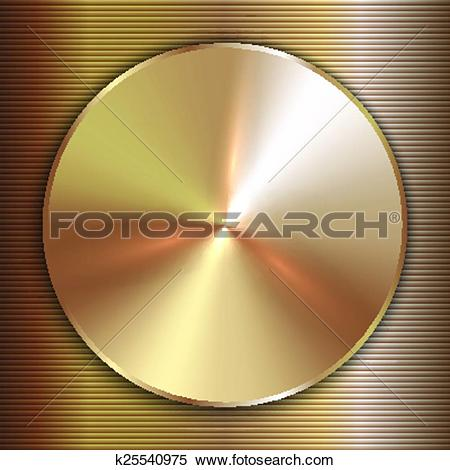 Clipart of Vector precious metal round golden plate with line.