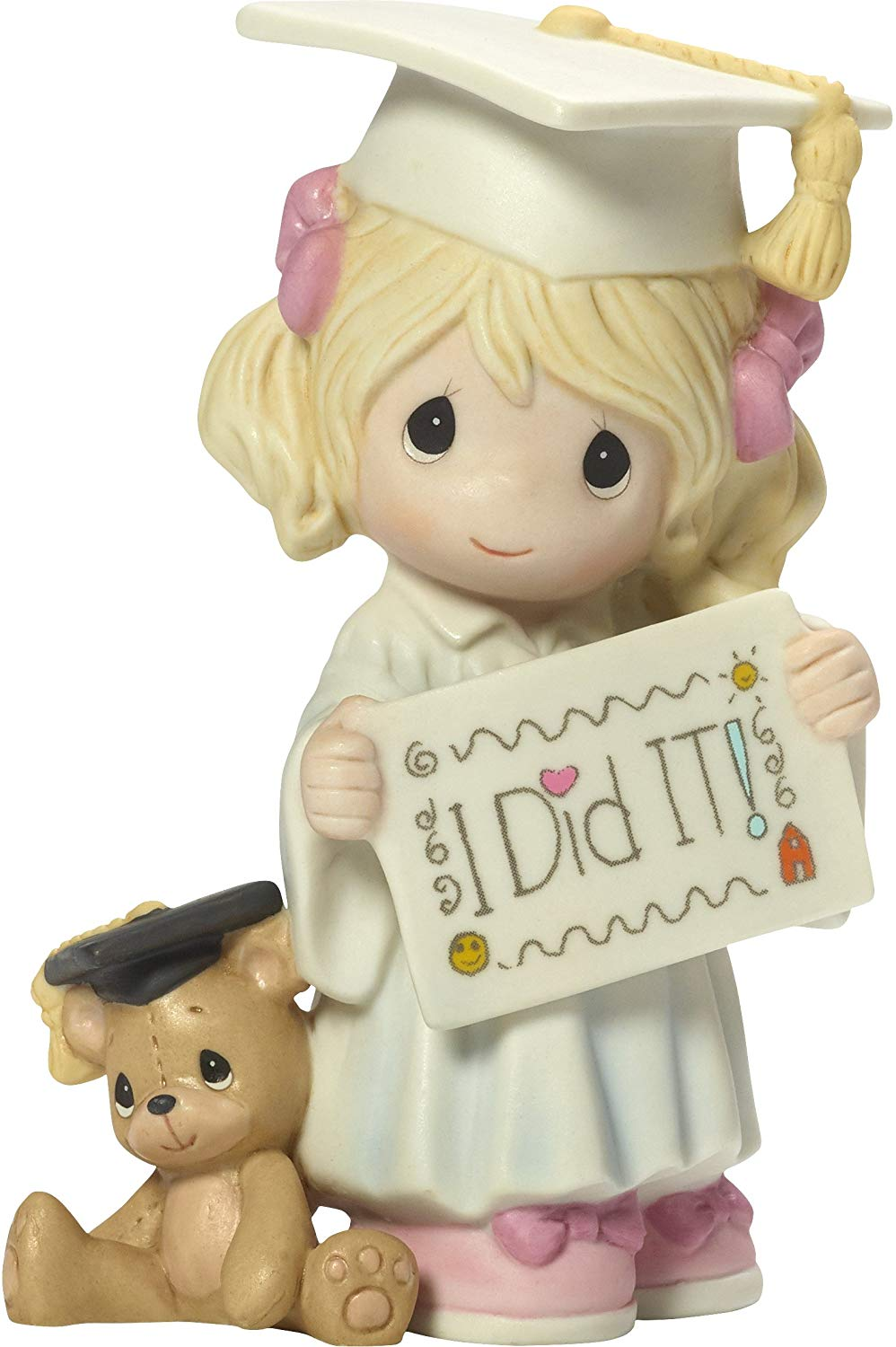 Precious Moments I Did It Graduation Girl With Teddy Bear Bisque Porcelain  Home Decor Collectible Figurine 173014.