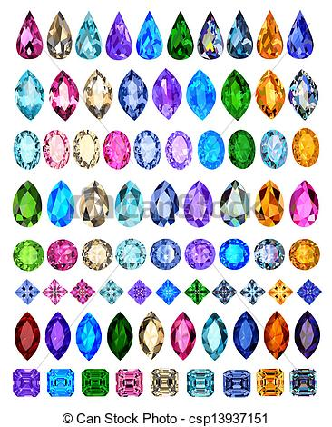 Clipart Vector of set of precious stones of different cuts and.
