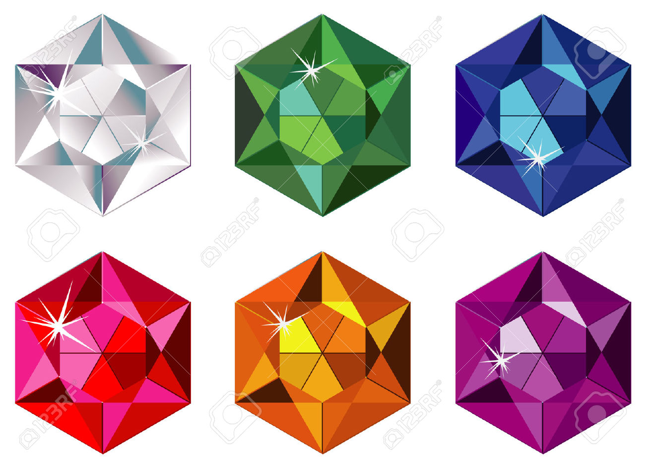 Hexagon Cut Precious Stones With Sparkle Royalty Free Cliparts.
