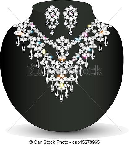 Clip Art Vector of illustration of a Golden necklace and earrings.