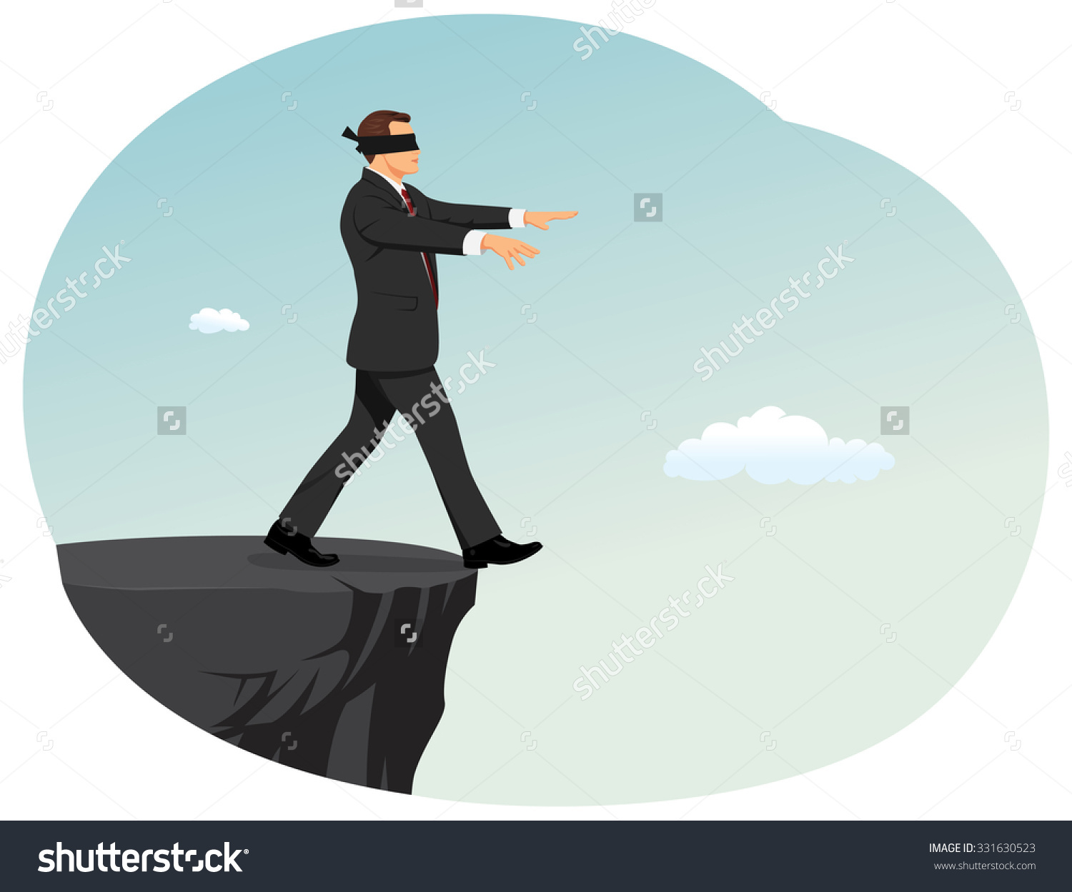 Blindfolded Businessman Searching Path Near Deep Stock Vector.