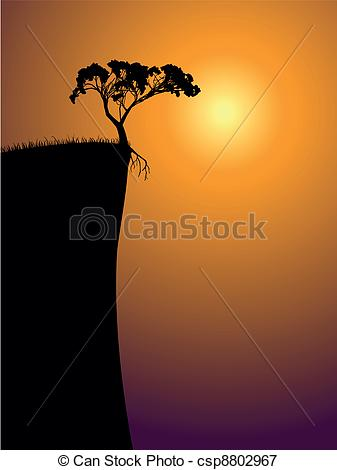 Vectors Illustration of single lonely tree on a precipice, sun in.
