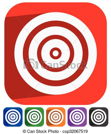 Vector Clip Art of Red target vector icon. Precision, efficiency.
