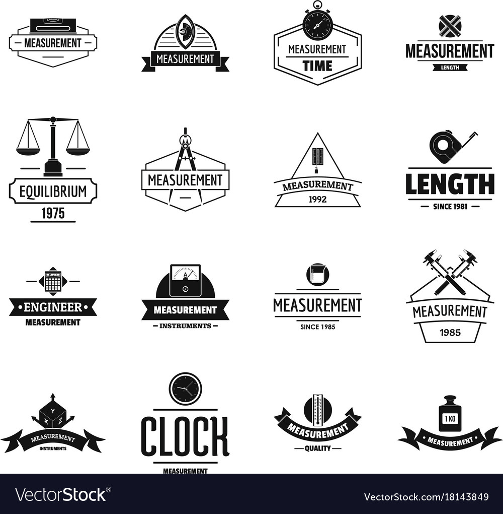 Measure precision logo icons set simple style.