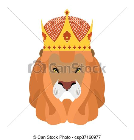 Vectors Illustration of Lion King and crown. Head of a predator.