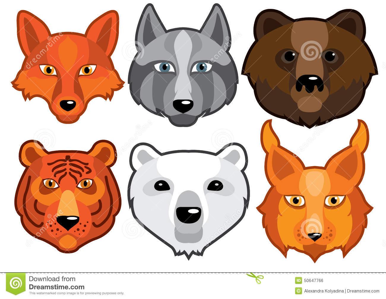 Wild Animals Head Predators Stock Vector.