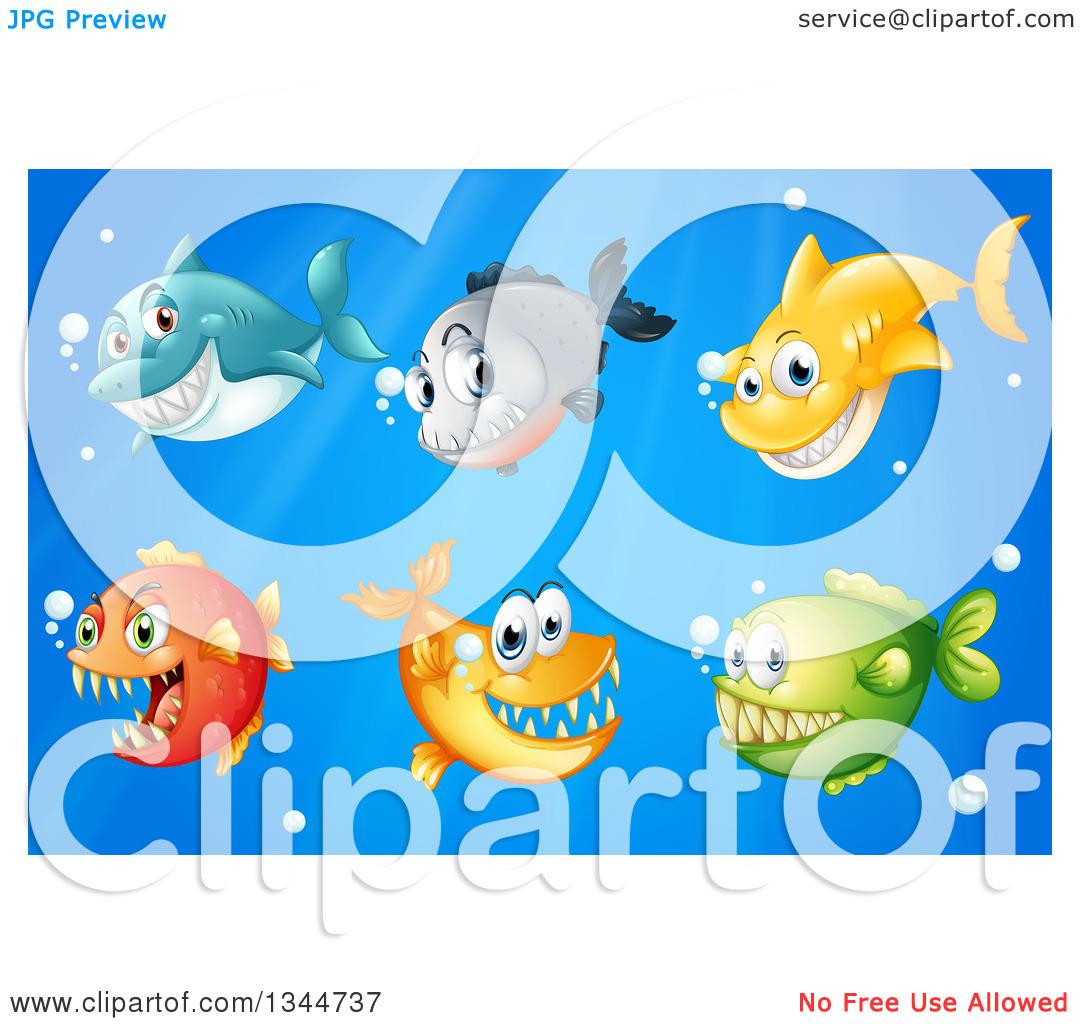 Clipart of Sharks and Predatory Fish Underwater.