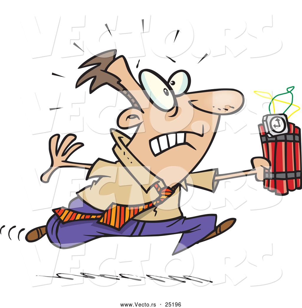Vector of a Panicking Cartoon Businessman Running with Ticking.