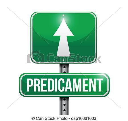 Vector Clipart of predicament road sign illustration design over a.