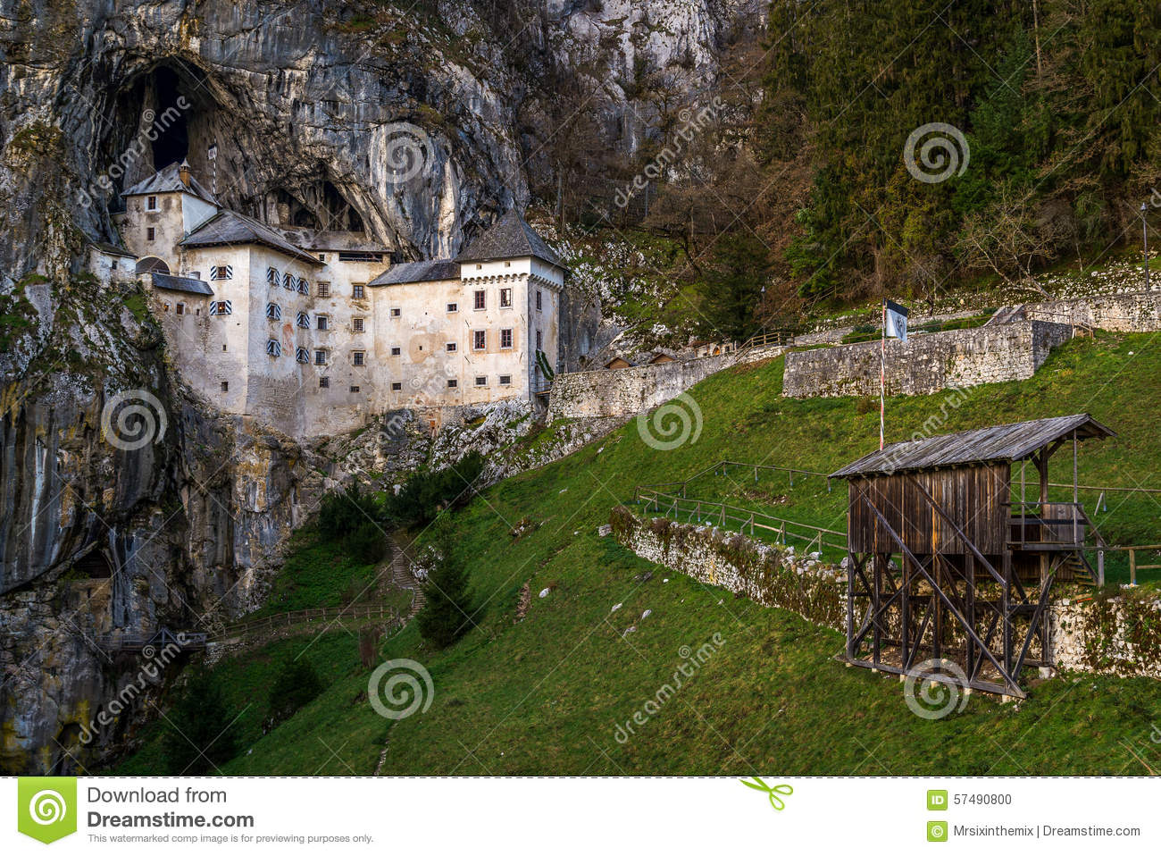 Predjama Castle Near Postojna Cave, Slovenia Stock Photo.
