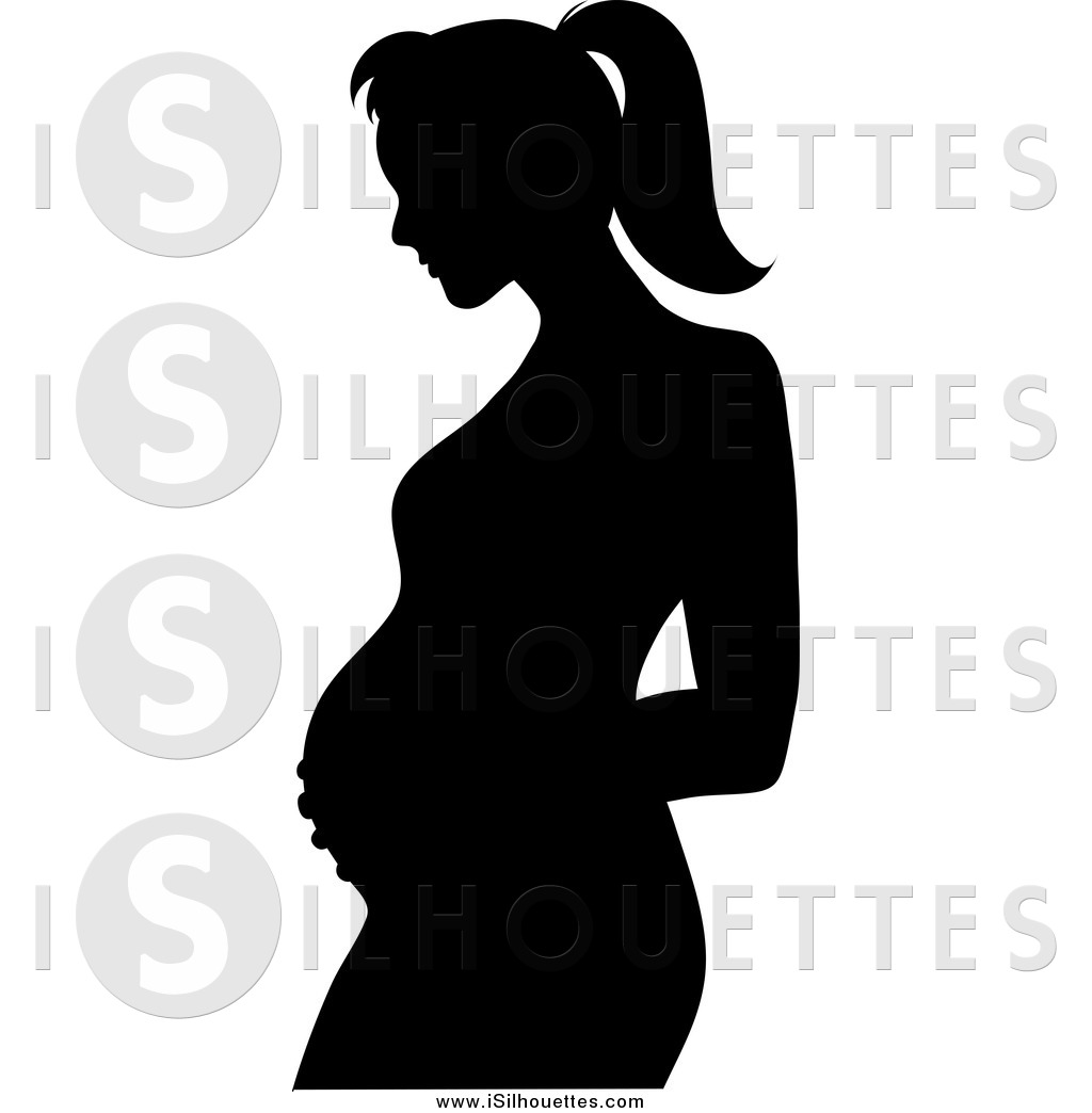 Clipart of a Silhouetted Pregnant Mother Holding Her Belly.