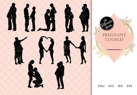 Pregnant Couple Silhouette.