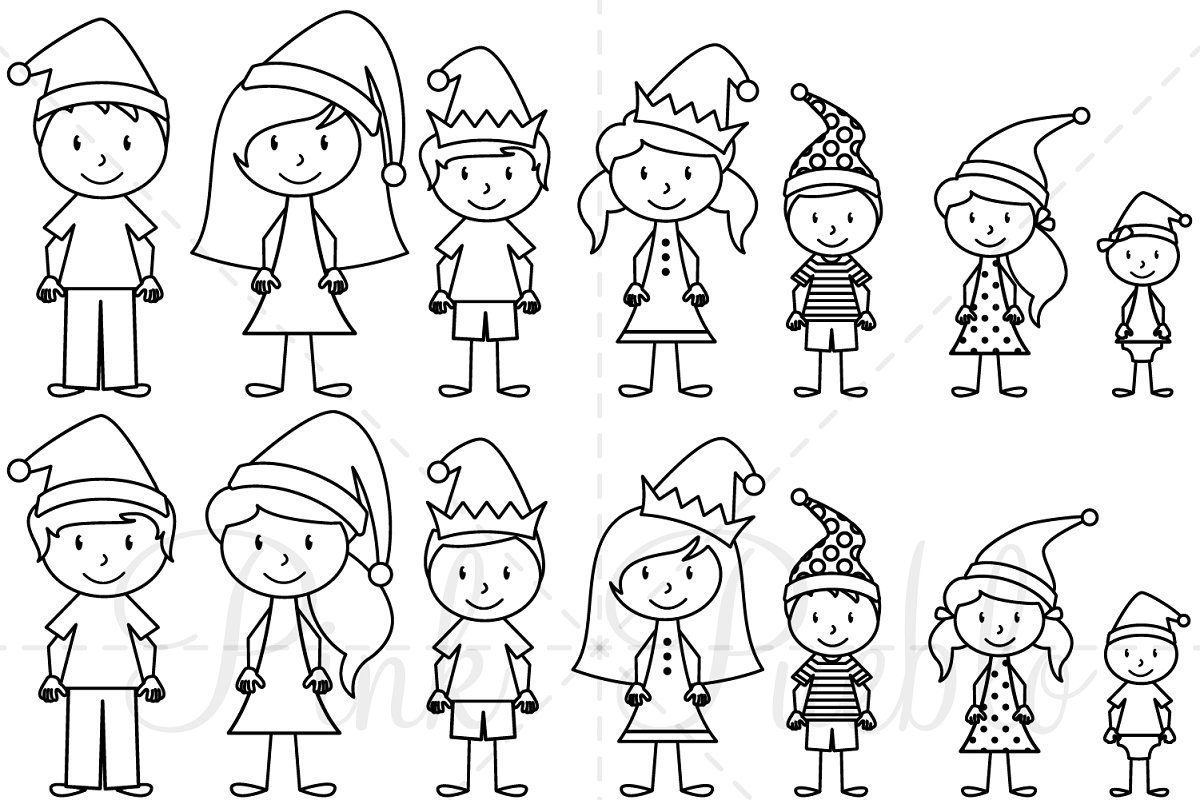Christmas Stick Figure Clipart.