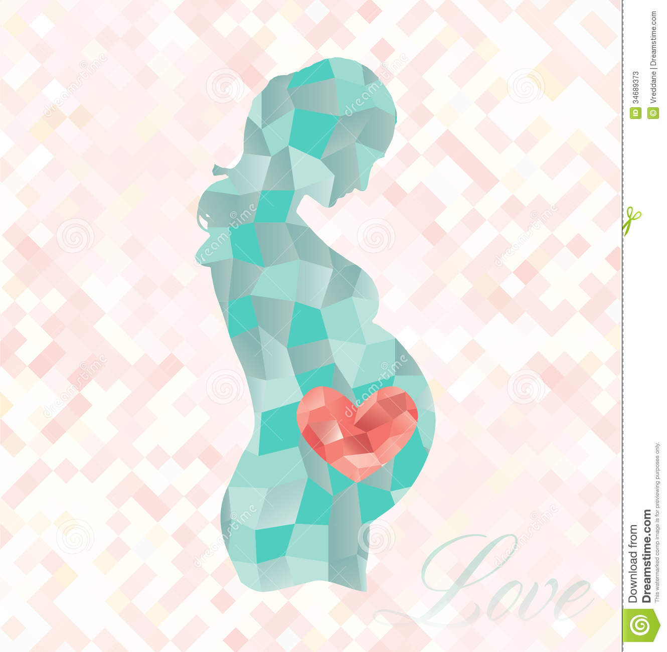 Pregnant Woman Heart On Belly Clipart.