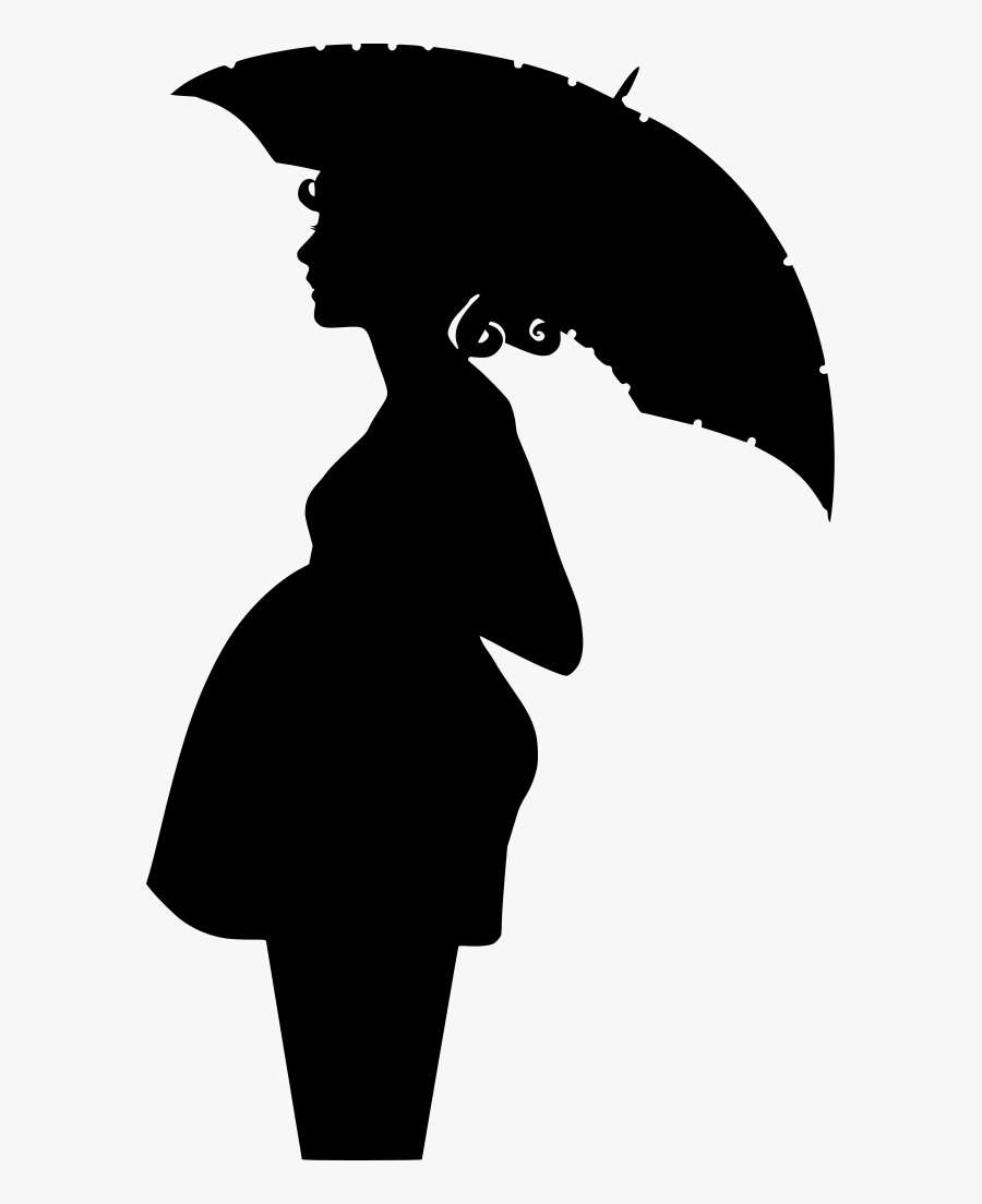 Black And White Pregnant Lady With Umbrella , Free.