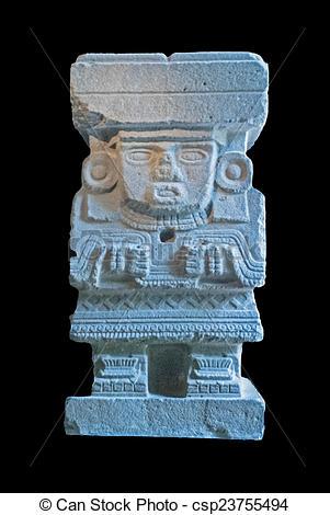 Stock Photographs of Prehispanic sculpture in Mexico.