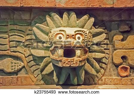 Stock Photo of Ancient prehispanic sculpture in Mexico k23755493.