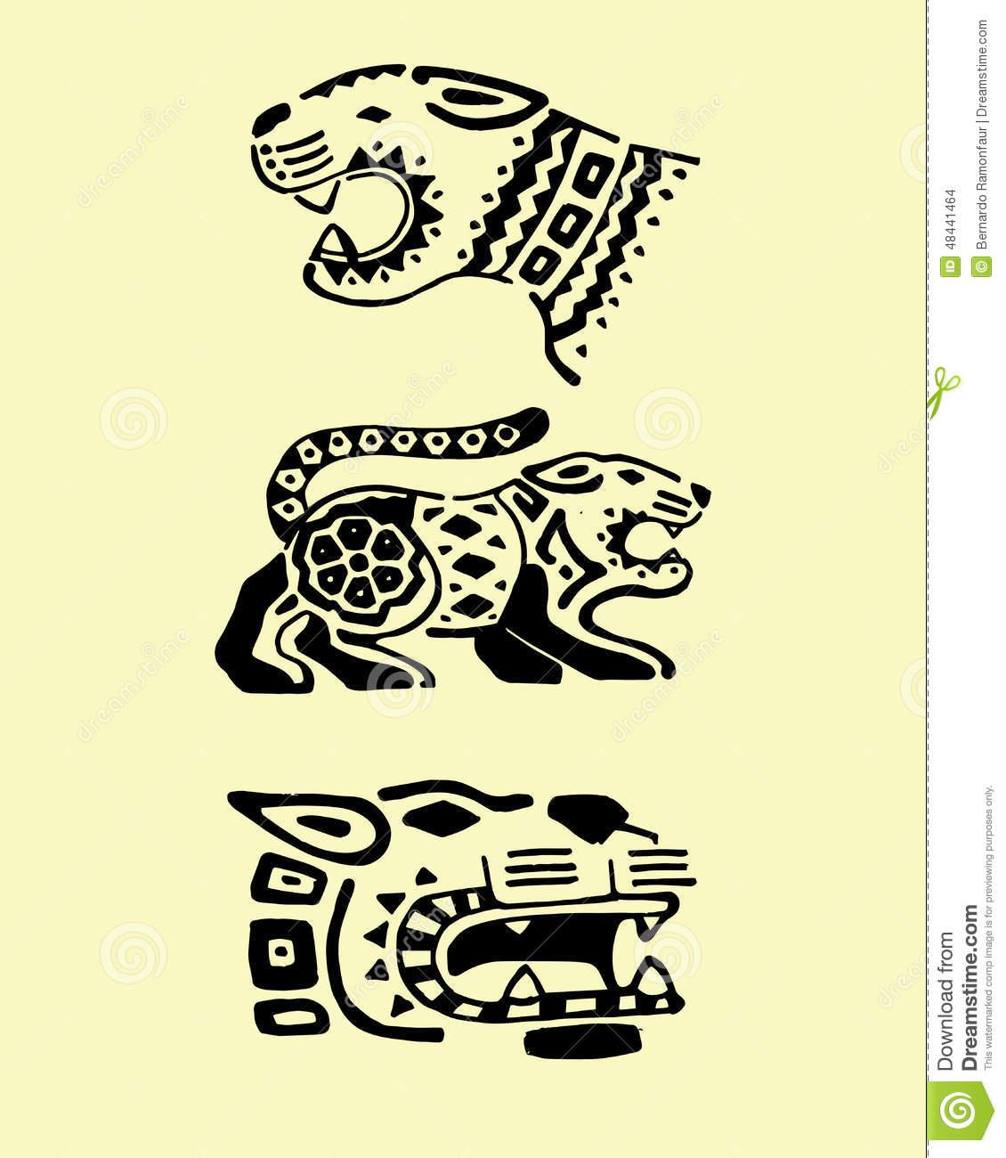Prehispanic Jaguars Stock Vector.