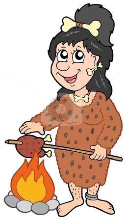 Cartoon prehistoric woman stock vector.