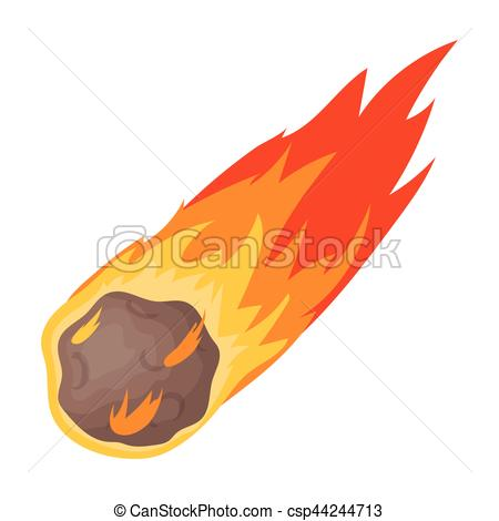 Vector Clip Art of Flame meteorite icon in cartoon style isolated.