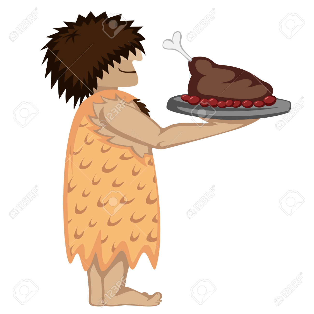 Prehistoric Waiter With A Tray And Paleo Food Cartoon Style.