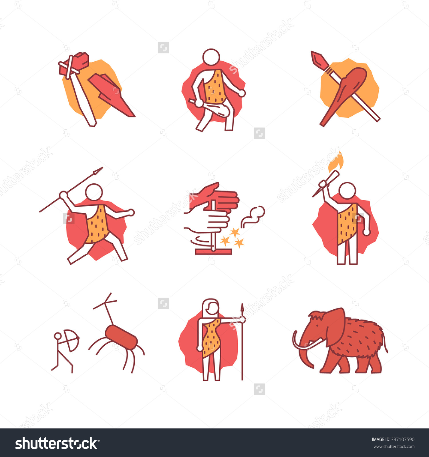 Primitive Prehistoric Caveman Ice Age Signs Stock Vector 337107590.