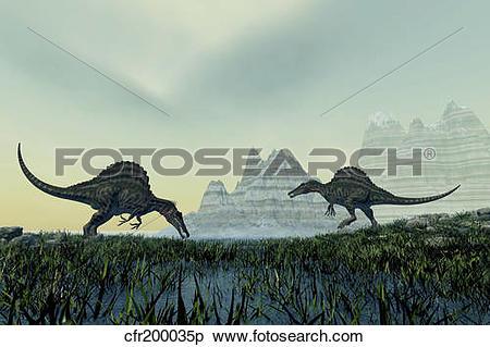 Stock Illustration of Spinosaurus dinosaurs drink from a marsh.