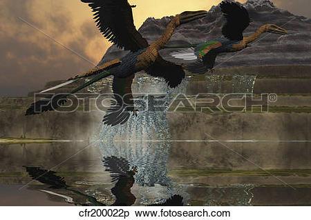 Stock Illustration of Two Microraptor dinosaurs fly near mountain.
