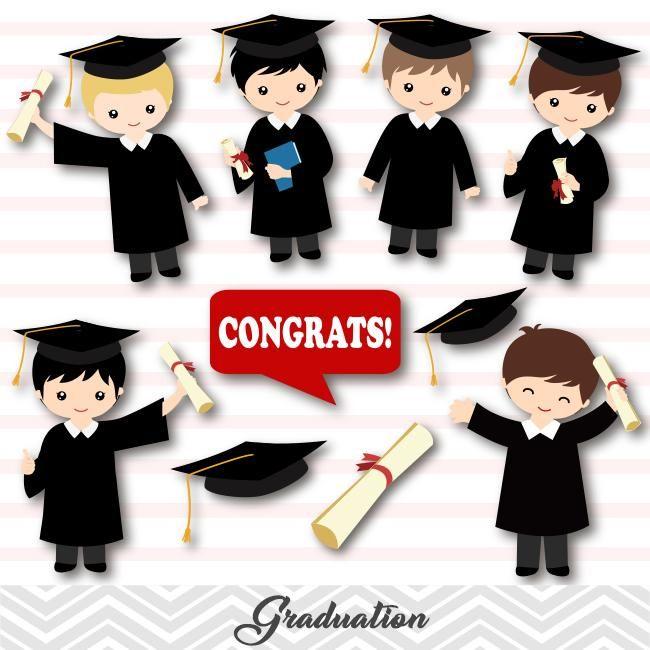 Graduation Boys Clip Art, Boys Graduate Clipart, Preschool.