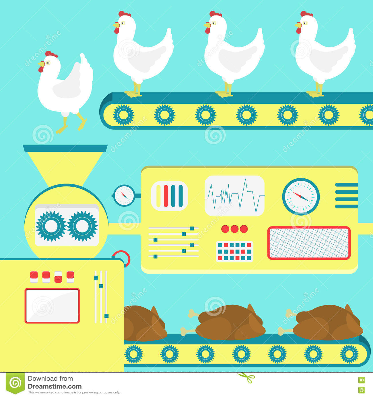 Production Line At Meat Processing Plant Stock Photo.