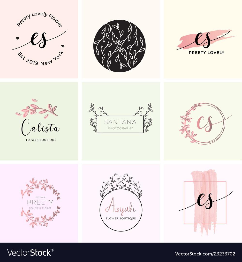 Feminine premade logo bundle branding template.