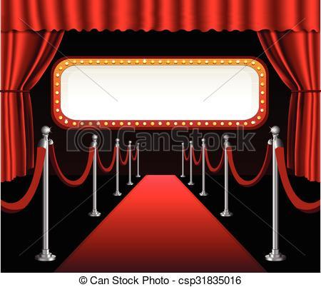 Vector Clip Art of Red carpet movie premiere elegant event.