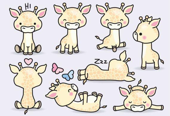 Illustration Enfant Premium Vector Clipart Kawaii Giraffes.