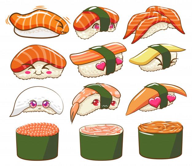 Sushi vector set clipart Vector.