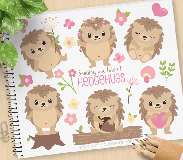 Cute Hedgehogs Clipart.