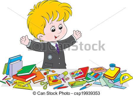 Clipart Vector of Schoolboy preparing for school.