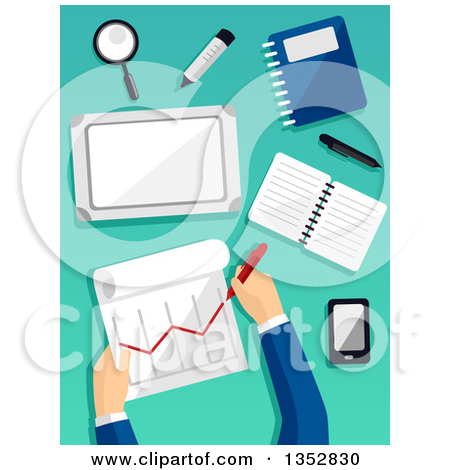 Clipart of Hands of a Business Man Preparing a Financial Report.